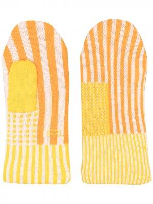 Перчатки в полоску ERL. Цвет: оранжевый
