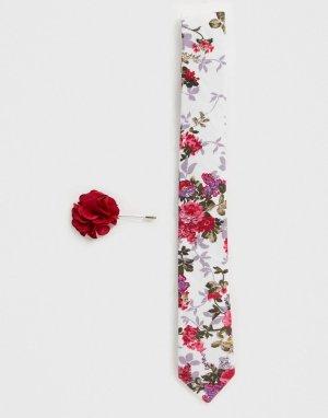 Набор из галстука и булавки на лацкан пиджака с цветком -Белый Ben Sherman