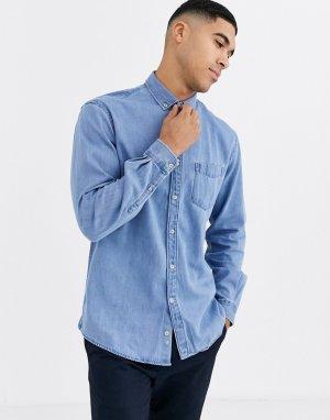 Светлая джинсовая рубашка -Синий Celio