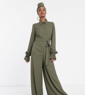 Комбинезон цвета хаки с длинными рукавами и оборками -Зеленый Verona