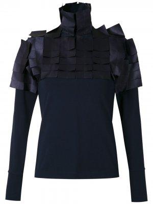 Блузка с высоким воротником Gloria Coelho. Цвет: синий