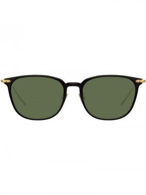 Солнцезащитные очки в прямоугольной оправе Linda Farrow. Цвет: черный