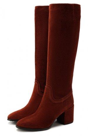 Замшевые сапоги Tod's. Цвет: коричневый