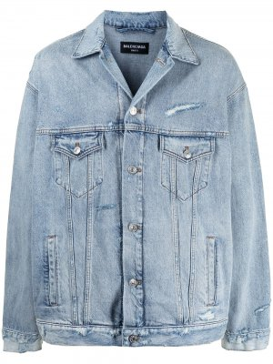 Джинсовая куртка с эффектом потертости Balenciaga. Цвет: синий