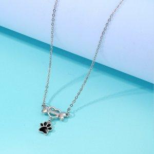 Детское ожерелье с подвеской лапы SHEIN. Цвет: серебряные