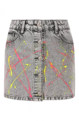 Джинсовая юбка Philipp Plein. Цвет: серый