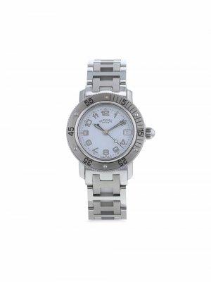 Наручные часы Clipper pre-owned 28 мм 2000-х годов Hermès. Цвет: синий