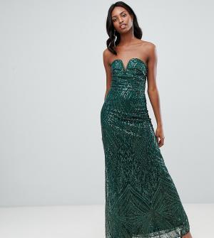d8deef2bd758 Зеленое платье макси бандо с пайетками TFNC Tall. Цвет: зеленый