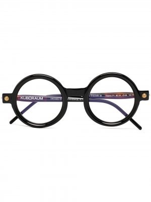 Солнцезащитные очки P1 в круглой оправе Kuboraum. Цвет: черный
