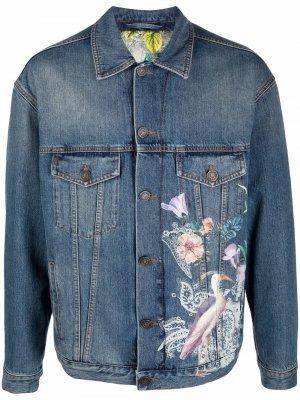 Джинсовая куртка с принтом ETRO. Цвет: синий