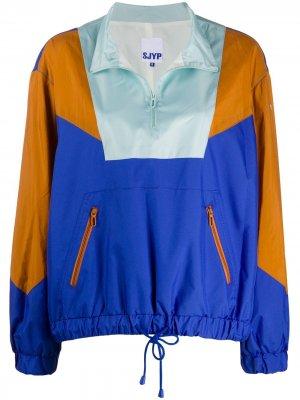Куртка-пуловер в стиле колор-блок SJYP. Цвет: синий