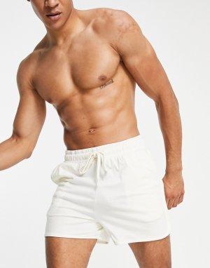 Бежевые шорты в спортивном стиле для дома с начесом -Светло-бежевый цвет ASOS DESIGN