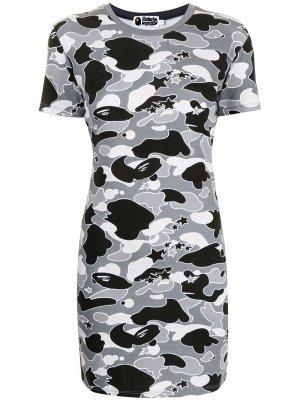 Camouflage print jersey dress A BATHING APE®. Цвет: серый