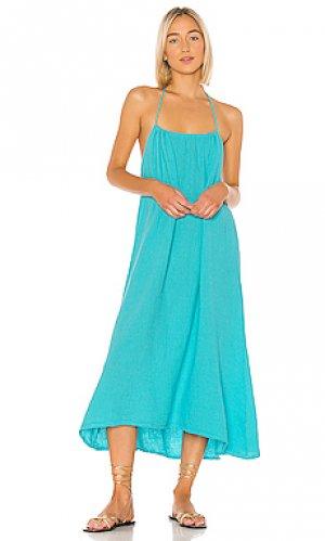 Платье миди beach Bobi. Цвет: синий