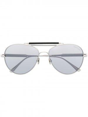 Солнцезащитные очки-авиаторы TOM FORD Eyewear. Цвет: серебристый