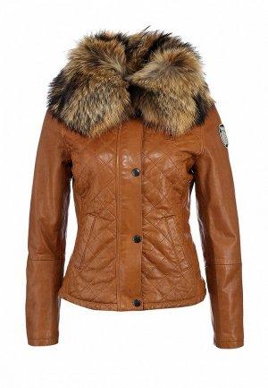 Куртка кожаная Blauer BL654EWJZ520. Цвет: коричневый
