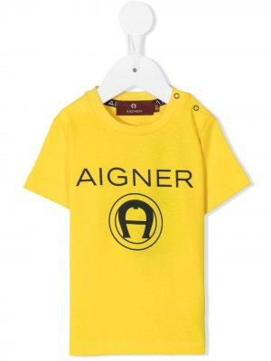 Футболка с логотипом Aigner Kids. Цвет: желтый
