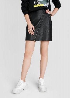 Кожаная юбка с молниями O`Stin. Цвет: черный