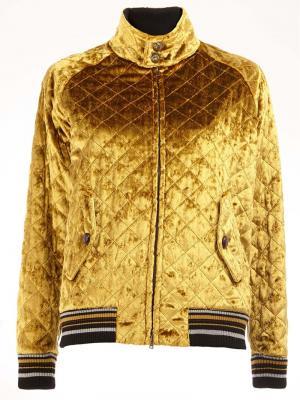 Стеганая бархатная куртка-бомбер Maison Margiela. Цвет: жёлтый и оранжевый