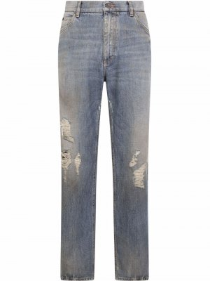 Широкие джинсы с прорезями Dolce & Gabbana. Цвет: синий