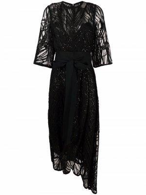 Платье миди из тюля с вышивкой Elie Saab. Цвет: черный