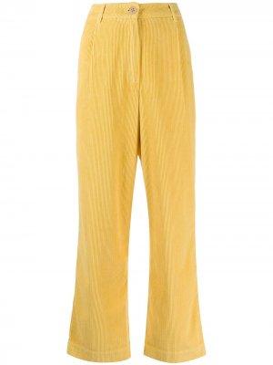 Вельветовые брюки прямого кроя Folk. Цвет: желтый