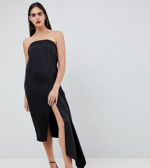 Атласное платье-бандо миди ASOS DESIGN Tall-Черный Tall