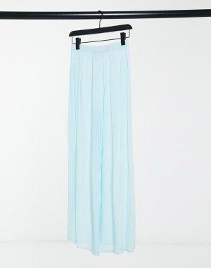 Голубые пляжные брюки с разрезом от комплекта -Синий ASOS DESIGN