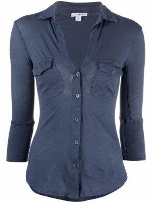 Рубашка с V-образным вырезом James Perse. Цвет: синий