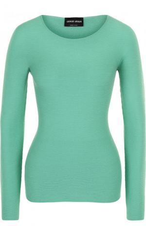Приталенный пуловер с круглым вырезом и длинным рукавом Giorgio Armani. Цвет: зеленый