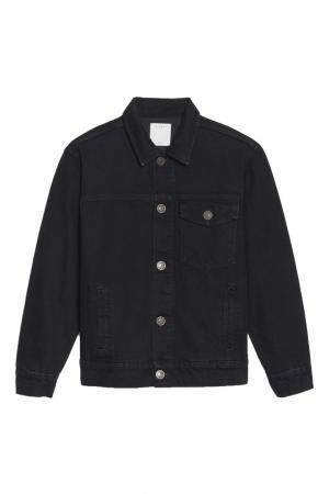 Черная джинсовая куртка Sandro. Цвет: черный