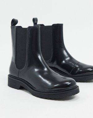 Черные ботинки челси из искусственной кожи Nori-Черный Monki