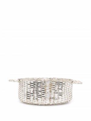 Плетеная корзина 1990-х годов Christian Dior. Цвет: серебристый