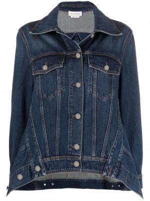 Spread-collar denim jacket Alexander McQueen. Цвет: синий