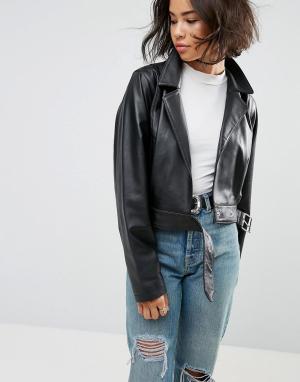 Мягкая кожаная куртка в стиле 80-х ASOS DESIGN. Цвет: черный