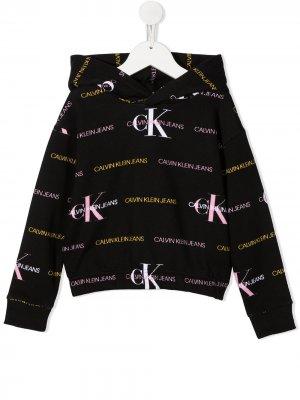 Худи с логотипом Calvin Klein Kids. Цвет: черный