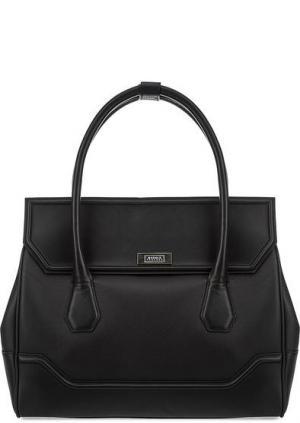 Вместительная кожаная сумка с одним отделом Modalu London. Цвет: черный