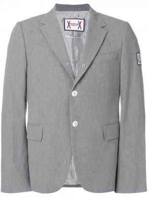 Slim-fit button blazer Moncler. Цвет: серый