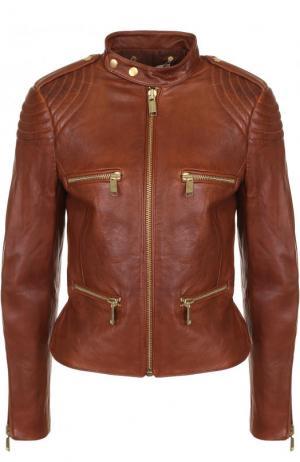 Приталенная кожаная куртка с воротником-стойкой MICHAEL Kors. Цвет: коричневый