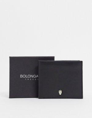 Кожаный бумажник с металлическим черепом -Черный Bolongaro Trevor