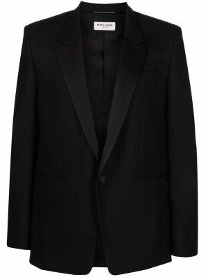 Однобортный пиджак в полоску Saint Laurent. Цвет: черный