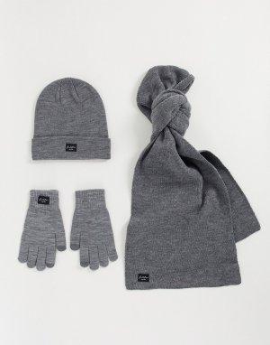 Серая шапка, шарф и перчатки -Серый Jack & Jones