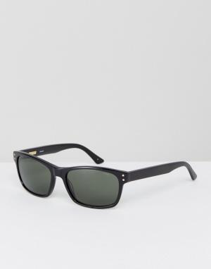 Солнцезащитные очки в квадратной черной оправе Levis. Цвет: черный