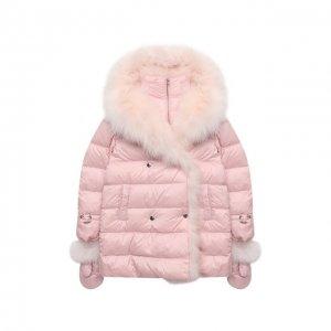 Пуховая куртка с варежками Yves Salomon Enfant. Цвет: розовый