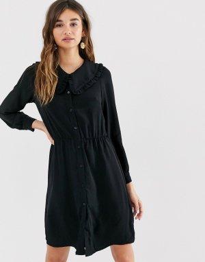 Черное платье мини с длинными рукавами и oversize-воротником -Черный Monki