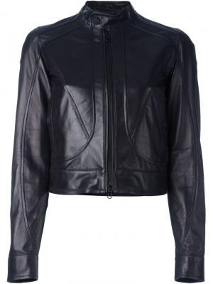 Укороченная кожаная куртка Diesel Black Gold. Цвет: чёрный