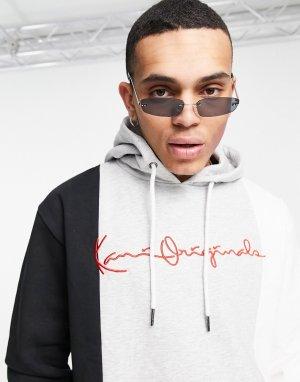 Разноцветный худи в стиле колор блок серого цвета Originals-Серый Karl Kani