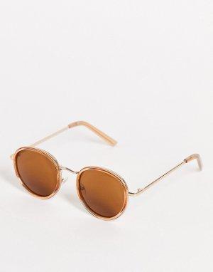 Круглые солнцезащитные очки янтарного цвета в стиле унисекс -Оранжевый цвет AJ Morgan