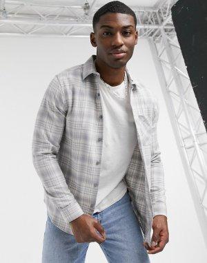 Светло-серая рубашка в клетку с длинными рукавами -Серый New Look