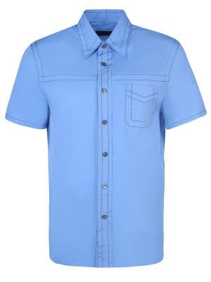 Рубашка с коротким рукавом PRADA. Цвет: голубой